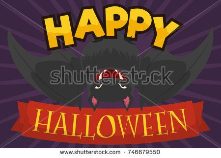 Poster with hanged black bat and greeting message in ribbon for a happy Halloween.