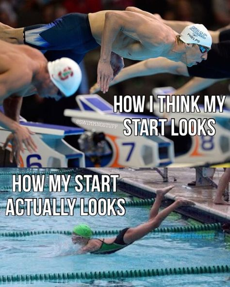 When no matter how long you've been swimming, your start always could use a little work: | 24 Pictures That Will Actually Hit A Little Too Close To Home For Swimmers