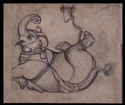 Style: Rajasthani; Type: Elephants and hunts; Title: 'Fallen elephant', Kota, c. 1700