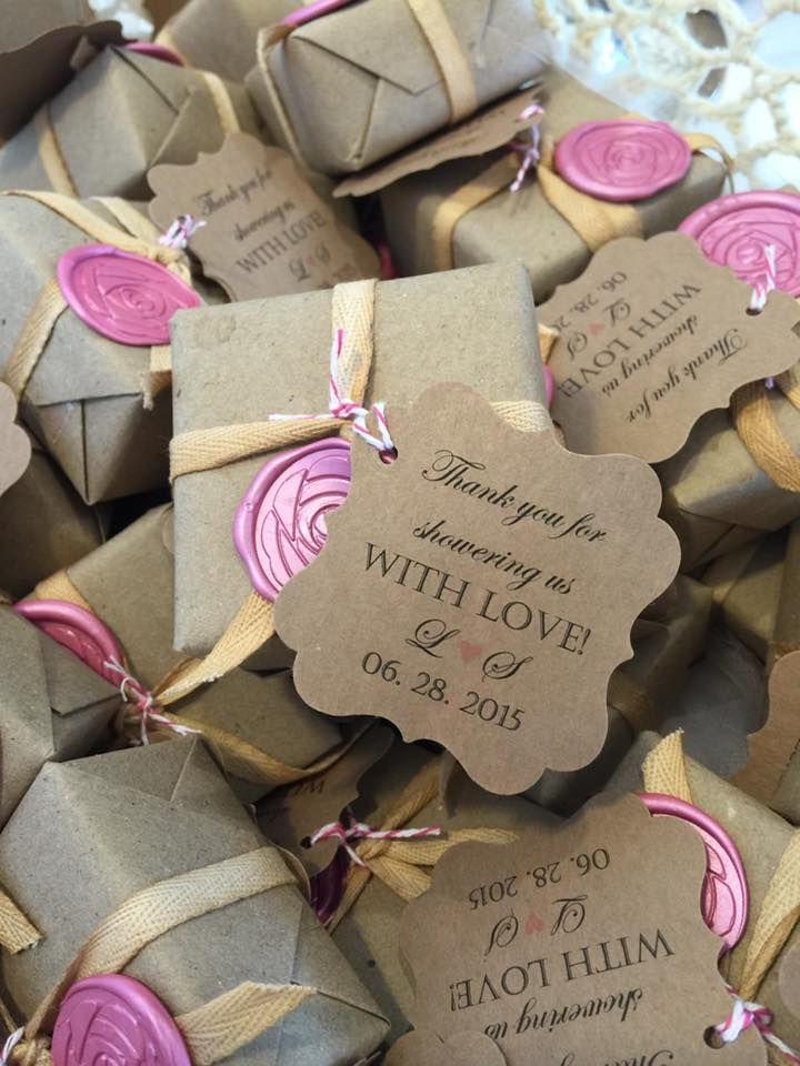 wrapped soap favor with rose wax seal bridal shower favor