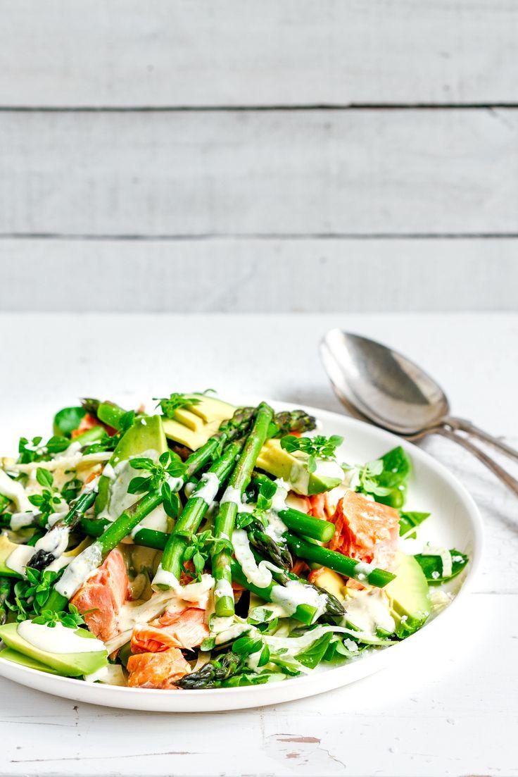 salmon, asparagus & fennel salad with lemon mayo