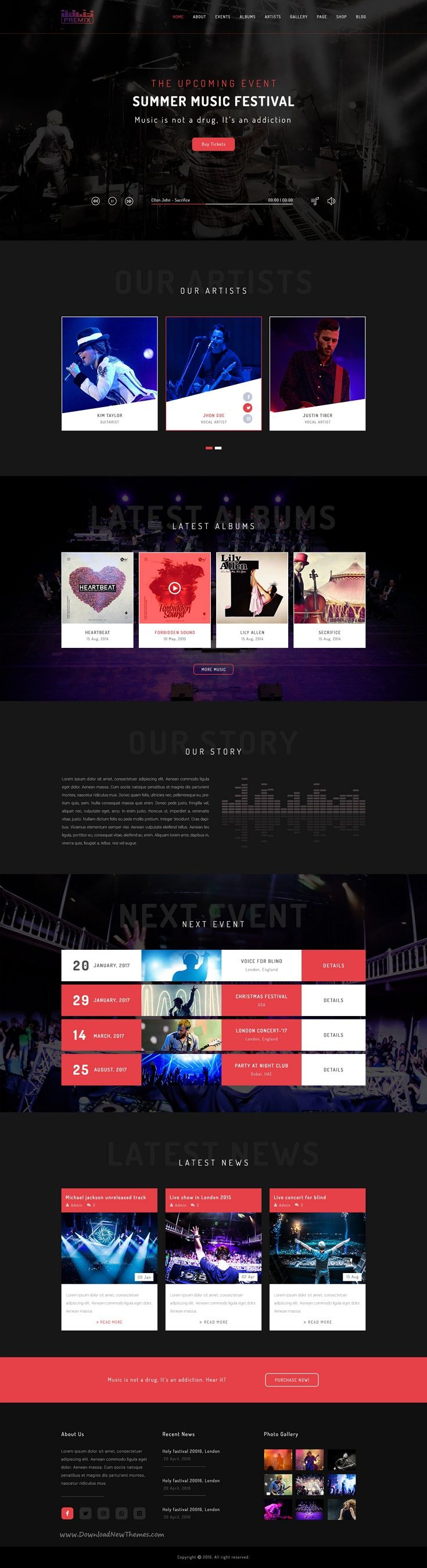 Premix is a modern and unique #PSD template designed for #webdesign #music events website download now➩