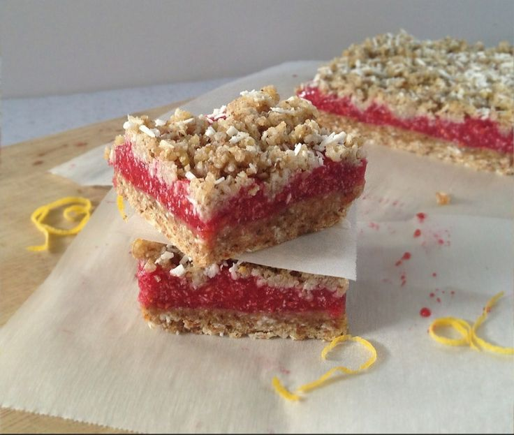 Raspberry Streusel Bars #rawfood Raw Desserts, Bar Raw, Streusel Bar ...