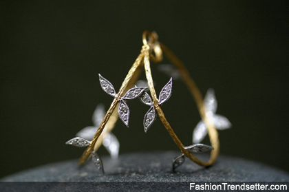 Leaf and branch hoop earrings by Cathy Waterman
