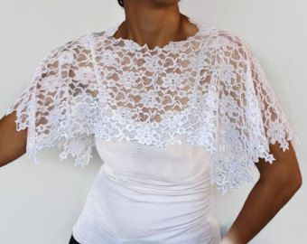 White Lace Bridal Top Wrap, Shoulder Cover, Shabby Chic Wedding, Lace Capelet, Romantic Cape Shrug, Classic Bolero Unique Design