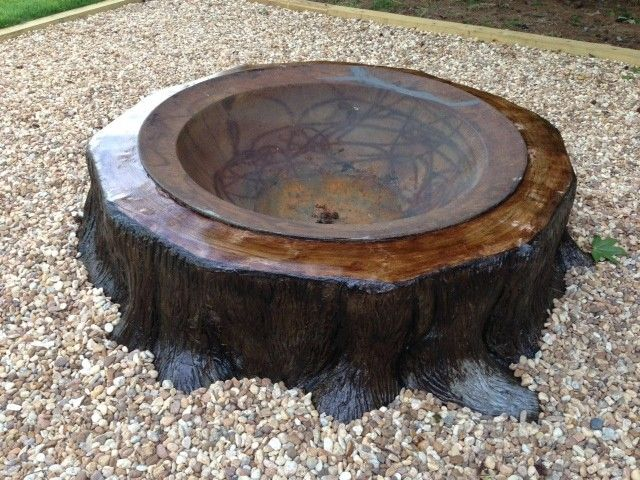 antique syrup kettle set inside a 5 foot tree trunk. - 10 Best Fire Pit Images On Pinterest Patio Ideas, Bonfire Pits And