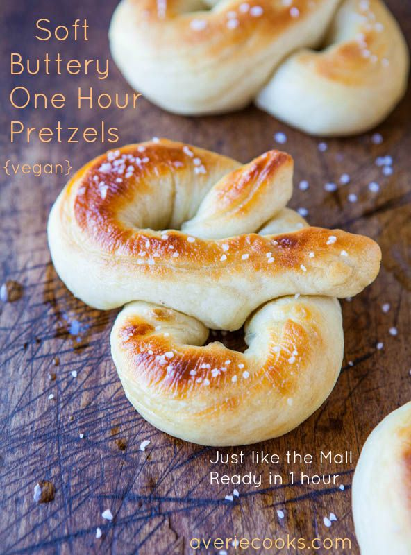 Soft Buttery One Hour Pretzels (vegan) - Make your fave mall pretzels at home. Easy, soft, buttery, dangerously good @Averie Sunshine {Averie Cooks}