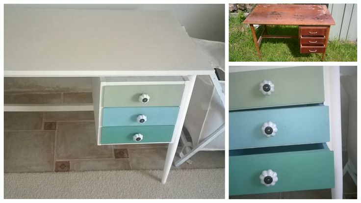 It was an old, used, brown and heavy table, and I painted with Pentart stuff, and I love it