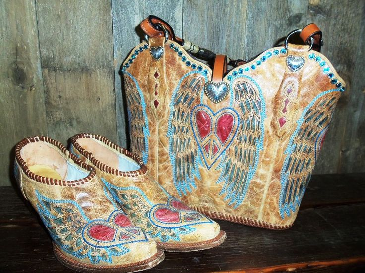 Diamond 57 designer Sue Roake took a cute pair of Corral boots and made the uppers into a tote, then stitched up the edges to make a matching pair of mules.