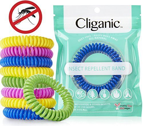 Cliganic Natural Mosquito Repellent Bracelet 10 Pack - Bug & Insect Protection for up to 250HRS - Plants Oil Pest Control No Spray/Lotion DEET FREE Band for Adults & Kids Indoor & Outdoor Travel