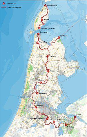 Kaart Noord-Hollandpad  Noord-Hollandpad  Het Noord-Hollandpad is een langeafstandwandelroute (270 km) van 13 etappes van Texel naar Huizen. De route loopt dwars door 'de binnenlanden' van Noord-Holland door boerenland, langs molens, slootjes, kanalen, bos en door karakteristieke dorpjes. De 13 etappes zijn in beide richtingen gemarkeerd, gaan grotendeels over onverharde paden, rustige landwegen of wandelpaden en zijn tussen de 14 en 26 km lang.