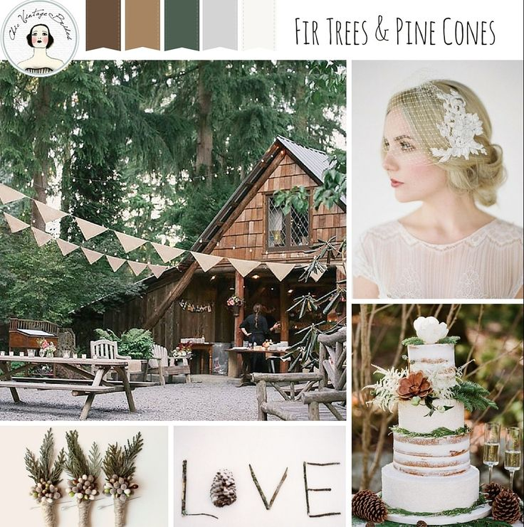 Some delightfully rustic inspiration for a snowdusted woodland wedding, in a seasonal palette of green, brown and silver......