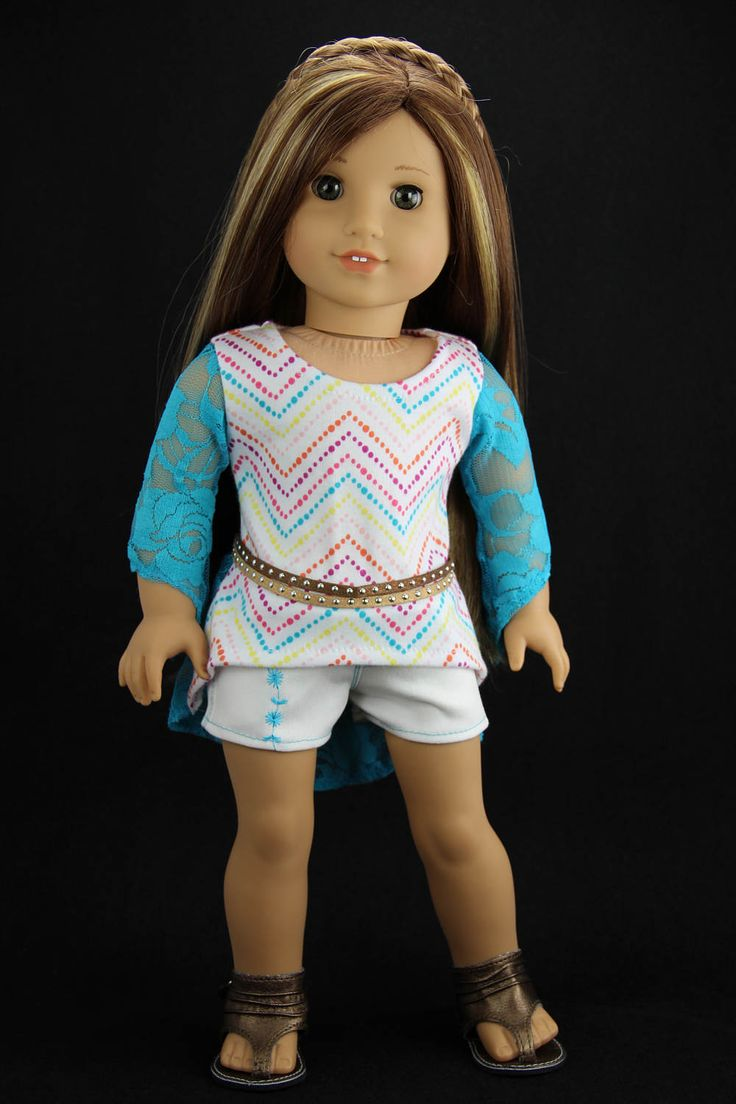 Handmade 18 inch doll clothes - Aqua and white 3 piece high low top outfit (526) by DolliciousClothes on Etsy
