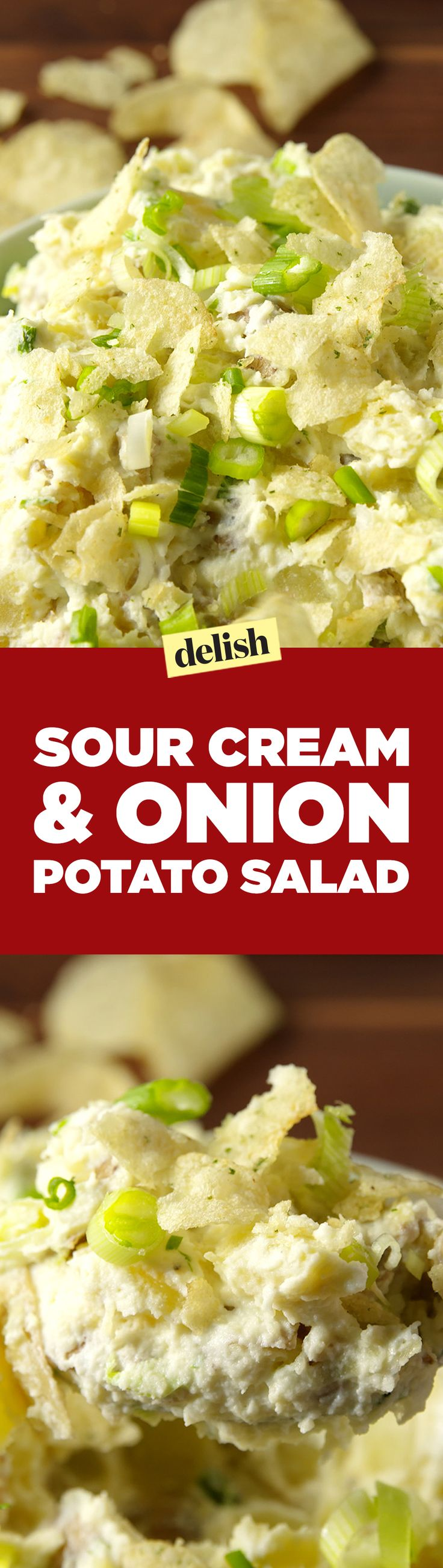 Sour Cream and Onion Potato Salad tastes just like your favorite chip. Get the recipe on Delish.com.