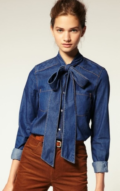 "I think I need to make a separate ""denim"" section. Denim blouse with bow-tie is way precious."