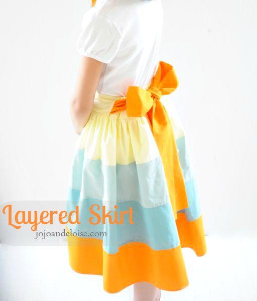 Layered rainbow skirt tutorial