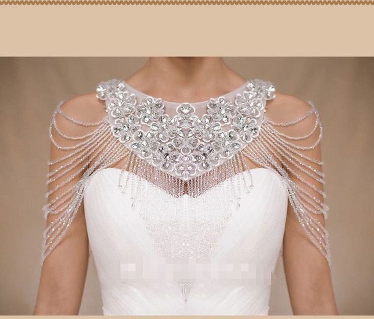 white/ivory Luxury Crystals Beading Wedding Shrug Wrap Bridal Bolero Jackets #JacketShawl