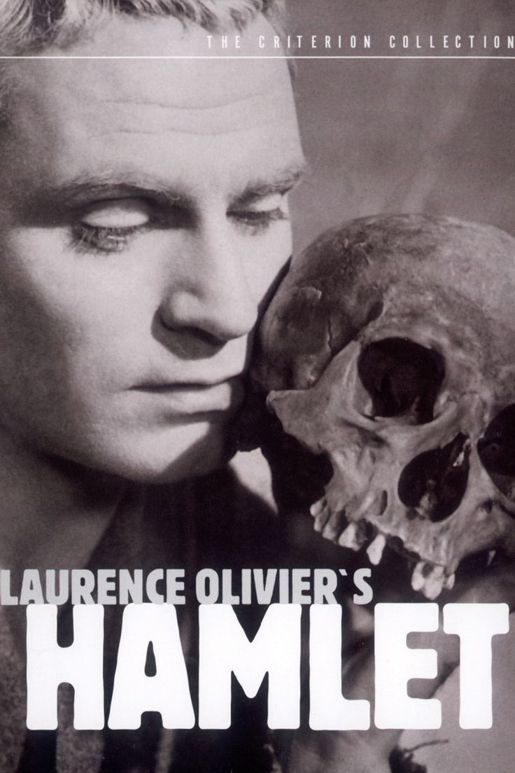 Laurence Olivier's version of Hamlet, which is performed by himself, Jean Simmons, Felix Aylmer, and Peter Cushing and shown on 1948. Description from transmedialshakespeare.wordpress.com. I searched for this on bing.com/images