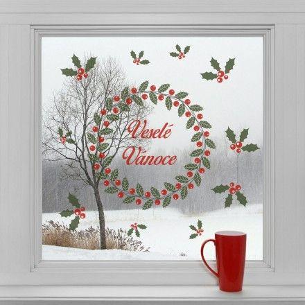 Vánoční dekorace na okno - Vánoční věnec