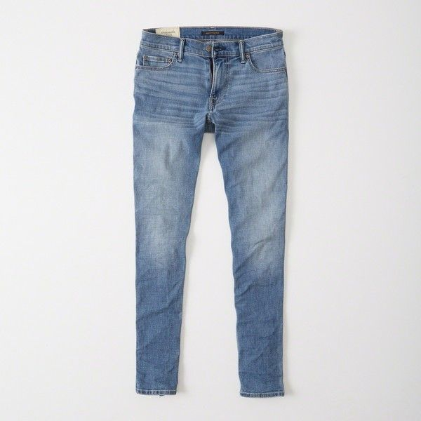 Abercrombie & Fitch Super Skinny Jeans (285 BRL) via Polyvore featuring men's fashion, men's clothing, men's jeans, medium wash, mens super skinny stretch jeans, mens stretch skinny jeans, mens button fly jeans, mens skinny fit jeans e mens zipper jeans