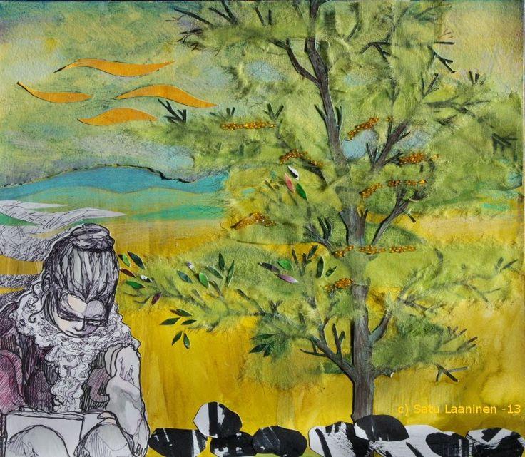 By: Satu Laaninen  Herkkupurkki: kollaasiHerkkupurkki: kollaasi pikkukimalainen.blogspot.com  drawing, portrait, collague, spring, thinker, writer