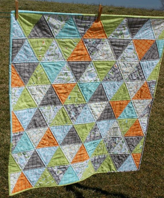 Baby Boy Quilt Triangle Quilt - love this color scheme for a boy!