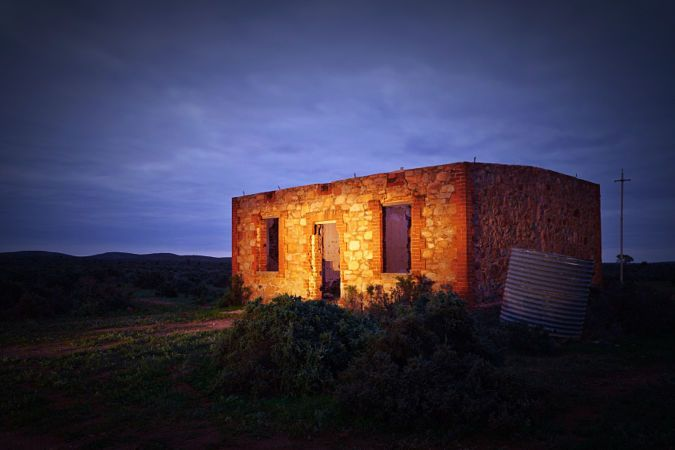 Copyright, 2016. Natalie Uscinas. Miner's Cottage ruins. Silverton, outback New South Wales, Australia.