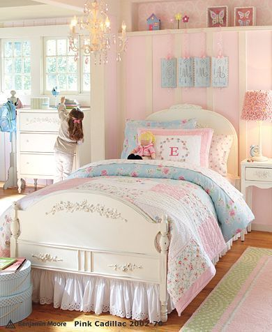What A Beautiful Room For A Little Girl. Love The Soft, Feminine Colors Of  This Pottery Barn Kids Room. I Particularly Love The Cozy Floral Quilt ...