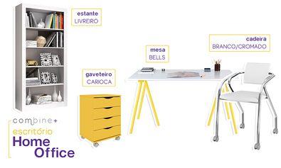 Compre Conjunto Home Office com Mesa, Cadeira, Gaveteiro e Estante Branco/Amarelo - Combine + em Promoção com ✓ Até 12x ✓ Fretinho