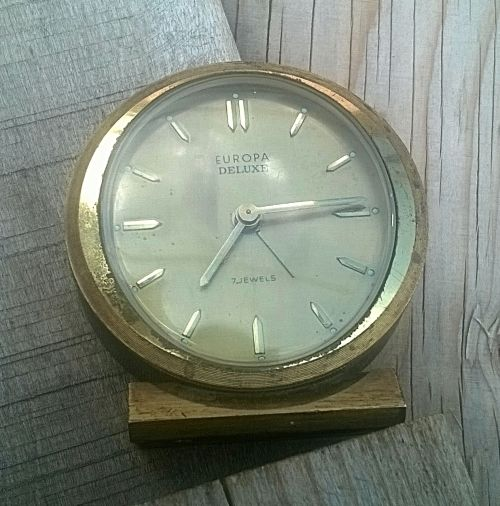 Buy Rare & Original EUROPA DELUXE 7 JEWELS Alarm clock. Mostly Solid Brass. NOT WORKING ! for R151.00