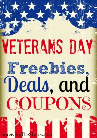 There are lots of great freebies and deals for our veterans this year!  Share this with anyone you know who could benefit!