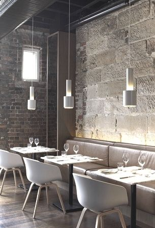 #Interiors. Simple colour palette with bare brick walls.