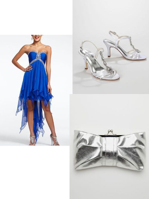 silver heels for prom   High-low prom dress, $199. Silver heels, $59. Clutch, $24. All ...