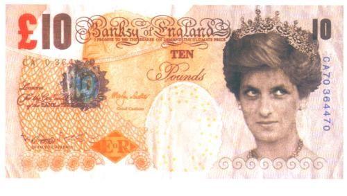 Banksy dollars $$: Pound Note, Diana Collection, Banksy Art, Banski Art, Street Art, Banksy Lady, 10 Pound, Heart Forever, Art Street