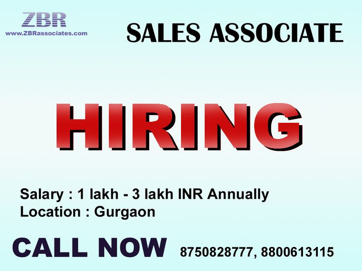 Job : Associate-SALES, Gurgaon Salary : 1 -3 lakhs annually. Qualification : Not pursuing graduation/pursuing graduation/Graduate/Freshers are welcome. Person has to be flexible to work in 24*7 shifts. Note : We don't respond via Email. So please give us a call on the below given number or send us an email on hr1@zbrassociates.com Interested Candidates Call Now 8750828777 (NEHA).