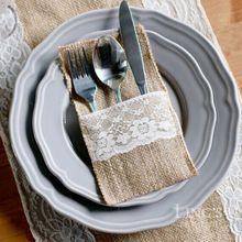 1pcs Hessian Burlap Lace Wedding Tableware Pouch Cutlery Holder Decoration Favor rustic wedding decor vintage wedding decoration(China (Mainland))