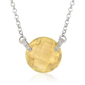 22.70 Carat Lemon Quartz Necklace With Diamonds In Sterling Silver