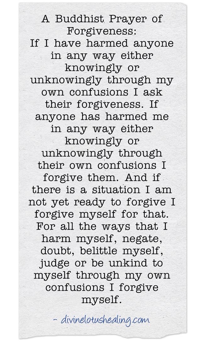 A Buddhist Prayer For Forgiveness