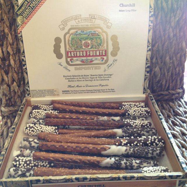 Havanna nights party-For a fun favor and snack for adult party. Chocolate dipped pretzels in a cigar box.