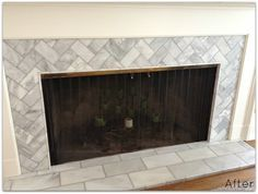 reface fireplace with gray herringbone tile - Google Search