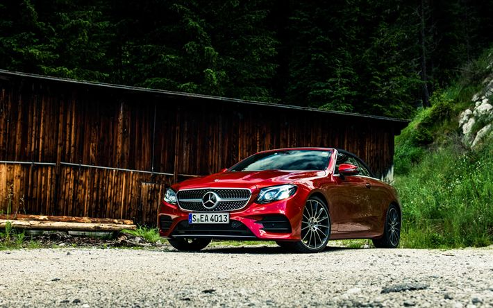 Download wallpapers Mercedes-Benz E-Class Cabriolet, 2017 cars, red E-Class, offroad, Mercedes