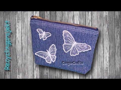 Tasche mit Reißverschluss nähen aus alter Jeans - Recycling DIY