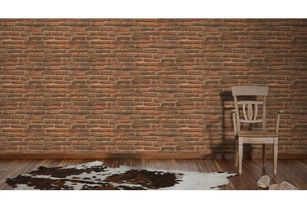 Eine Ziegelwand im Haus? Garkein Problem mit den tollen Vliestapeten von AS Création. Täuschend echtes Design, macht diese Tapete zum absoluten Hingucker in Ihrer Wohnung oder in Ihrem Haus.   #Stein #Steinoptik #Design #modern #Tapete #Wanddekor #Ziegel #Ziegelstein  #Ascreation #Hertie AS Création