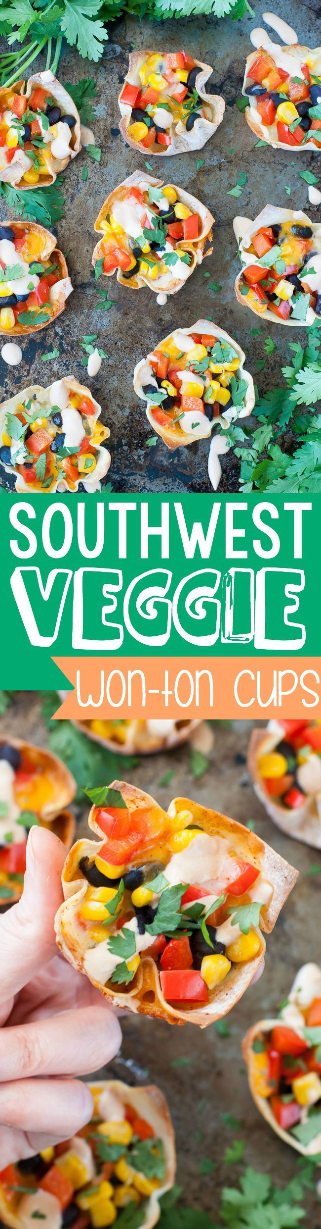 Southwest Veggie Won-Ton Cups :: this quick and easy snack makes a great appetizer and is freezer-friendly too!