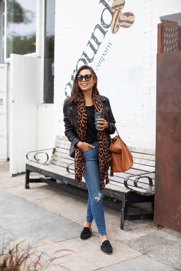 SEPTEMBER 26, 2017 Leather Jacket Weather - Mother jeans // Treasure & Bond jacket Theodora & Callum scarf // James Perse slides Lush tee // Meli Melo bag