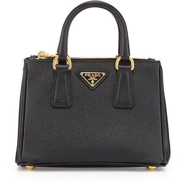Prada Saffiano Mini Galleria Crossbody Bag ($1,060) ❤ liked on Polyvore featuring bags, handbags, shoulder bags, black, bolsa, purses, handbags totes, crossbody tote, mini shoulder bag and man bag