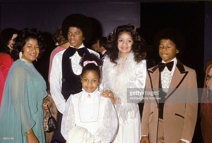 American singer Michael Jackson (1958 - 2009) with his mother Katherine, sisters Janet and La Toya and brother Randy at the wedding of older brother Jermaine Jackson to Berry Gordy's daughter Hazel in Hollywood, 15th December 1973.