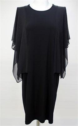 Taşlı Tül Detaylı Siyah Elbise