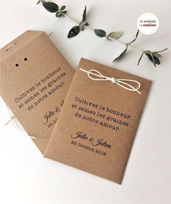 Enveloppes pour graines à semer, cadeaux personnalisés, remerciement aux invités ou marque place, sachet kraft et ficelle, champêtre stylish
