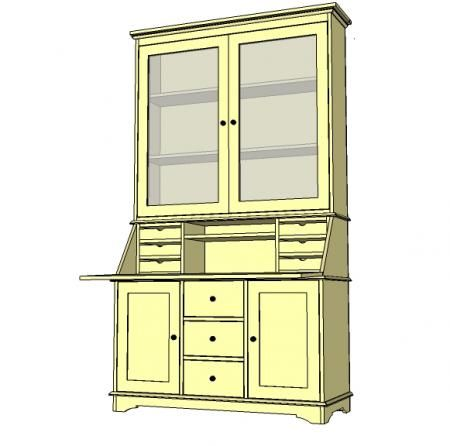 I want to make this! DIY Furniture Plan from Ana-White.com The secretary piece to the Grant Collection. Features six small drawers and a large shelf. Secretary top folds down for a desk.